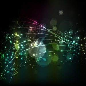 Musical notes colorful wave background