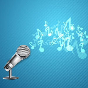 Musical Notes Coming Out From Microphone