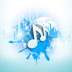 Musical Notes On Blue Grungy Background-