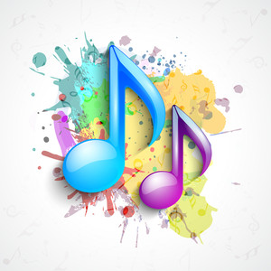 Musical notes on Colourful background