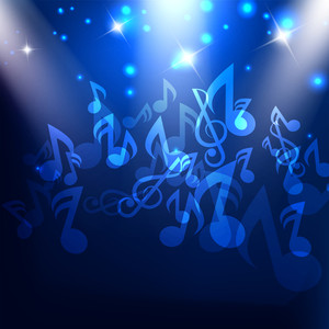 Musical notes on shiny blue background