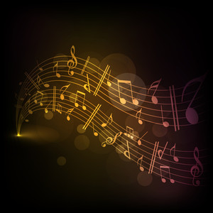 Musical notes on shiny golden backround