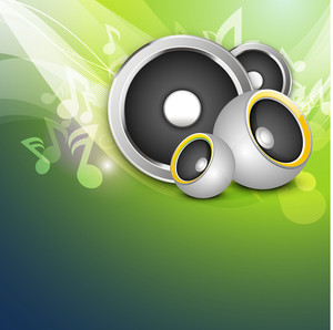 Musical Parties Concept With Illustration Of Speakers On Music Notes Background.