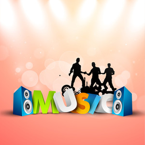 Musical party background with speakers