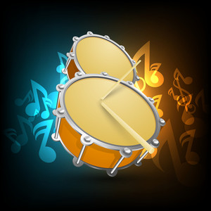 Musical party concept with drum on shiny music notes background
