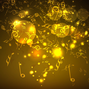 Musical party concept with golden musical notes and shiny background