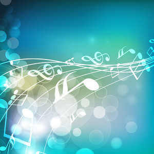 Musical Party Concept With Music Notes And Shiny Background