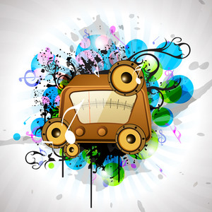 Musical Party Concept With Radio On Colorful Background