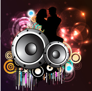 Musical party concept with speakers and shiny background