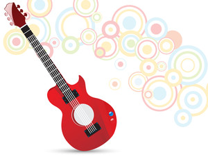 Musical red guitar on colorful abstract background.