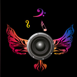 Musical sound with wings on black background.