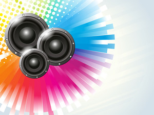 Musical sounds on colorful abstract background.