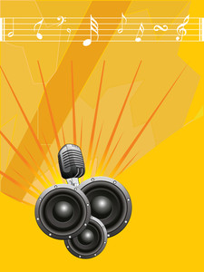 Musical sounds with mike on yellow abstract background.