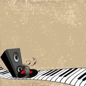 Musical speaker and disc on musical keyboard background.
