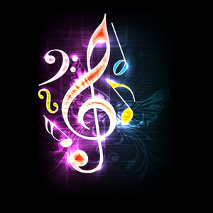 Musical symbols on colorful abstract background.