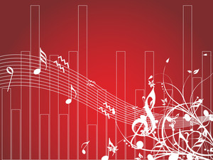 Musical Waves And Floral Elements Isolated On Red