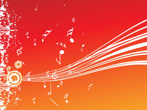 Musical Waves On Orange Background
