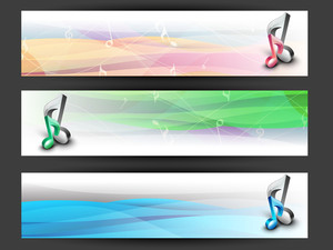 Musical Website Header Or Banner Set.