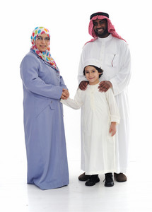Muslim family, two races together
