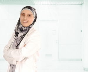 Muslim female doctor in hospital