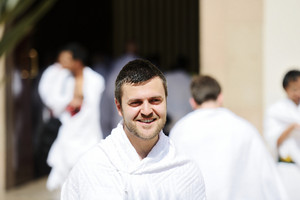 Muslim man wearing ihram clothes and ready for Hajj