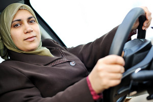 Muslim middle eastern female driver