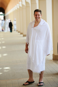 Muslim wearing ihram clothes and ready for Hajj at Miqat