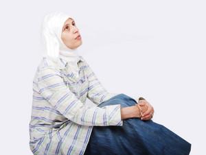 Muslim woman sitting