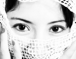 Muslim Woman With A Veil In Front Of Her Face
