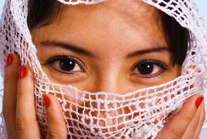 Muslim Woman With A Veil Over Her Face