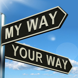 My Or Your Way Signpost Showing Conflict Or Disagreement