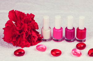Nail polish for french manicure decorated with flower