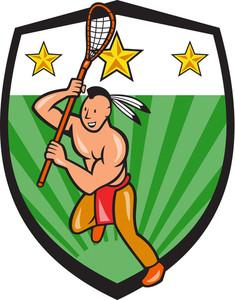 Native American Lacrosse Player Shield