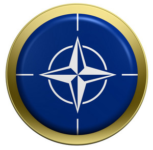 Nato Flag On The Round Button Isolated On White