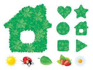 Natural Green Summer Icons. Vector.
