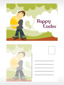 Natural Pattern Easter Post Card