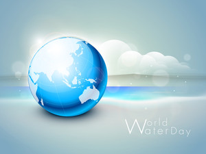 Nature Background With Shiny Blue Globe On Nature Background.