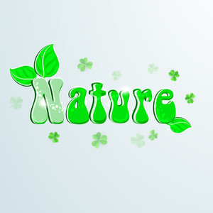 Nature Background With Shiny Green Text Nature On Grey Background.