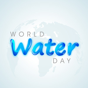 Nature Background With Stylish Blue Text  World Water Day On World Map Background.