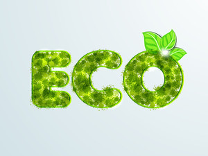 Nature Background With Stylish Green Text Eco On Blue Background.