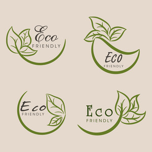Nature Background With Stylish Text Eco Friendly And Green Leaves On Brown Background.