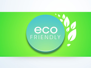 Nature Background With Stylish Text Eco Friendly In Blue Icon On Green Background.