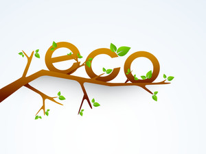 Nature Background With Stylish Text Eco On A Tree Branch.