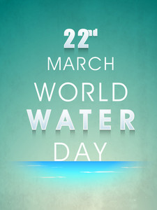 Nature Background With Stylish Text World Water Day On Grungy Green Background.