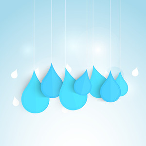 Nature Background With Water Drops And Stylish Text On Blue Background.