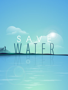 Nature Background With With Stylish Text Save Water At Seaside.