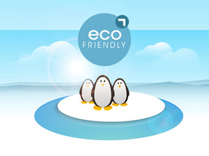 Nature Concept With Cute Penguine On Nature Blue Background.