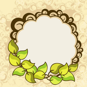 Nature Concept With Greeen Leaves On Floral Decorated Background