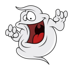 Naughty Ghost Smiling - Halloween Vector Illustration