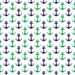 Nautical Pattern Of Blue And Green Anchors On A White Background